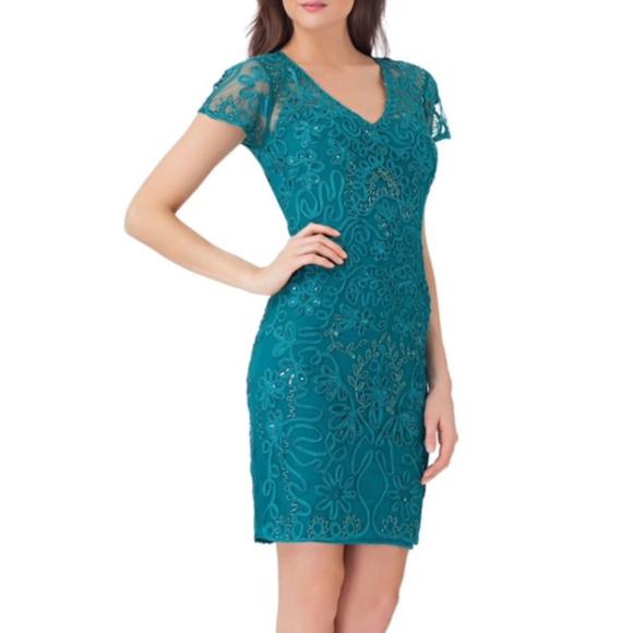9d9c6b46c633c JS Collections Beaded Sheath Dress Sz 16 Jade NWT